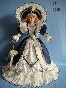 Umbrella Bottom Victorian Porcelain Doll 26 inch Navy Blue