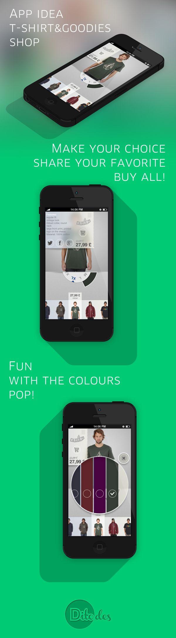 SlipSlapShirt App by Luca Di Tomassi, via Behance  #shirts #ios7 #app #nikhil
