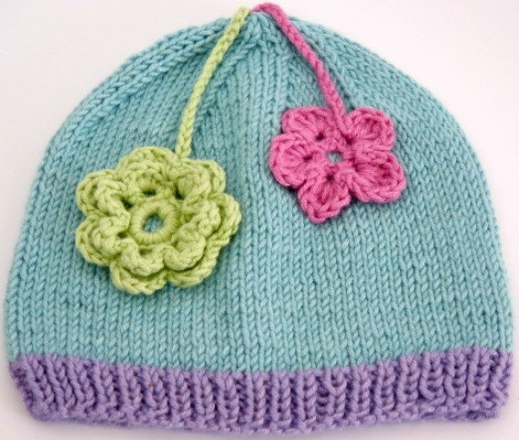Beanie for 6-9mth Blue and Lilac Edge and Pink & Green Flowers. CHF25.00, via Etsy.
