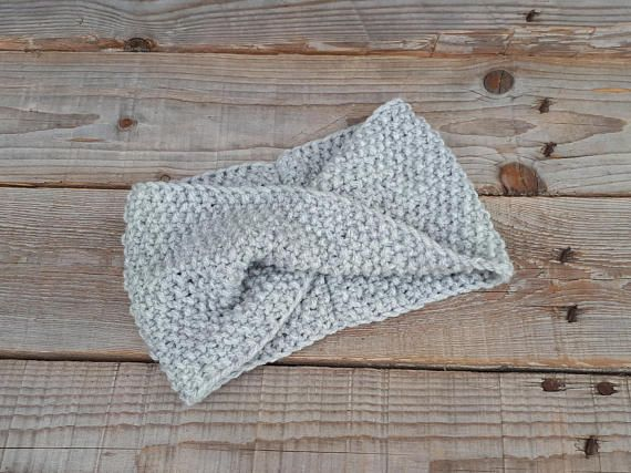 Hand knitted headband Knit headwrap Boho knit turban Ear