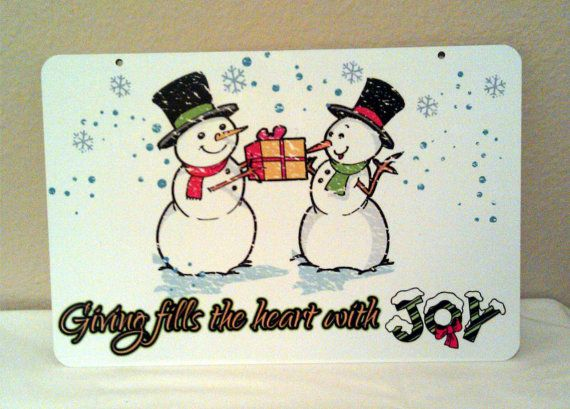 Giving fills the Heart Snowmen Aluminum Christmas by LogoPrint