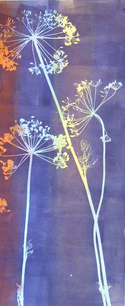 "Monotype Print by April Jordan.  ""Rainbow Dill"""