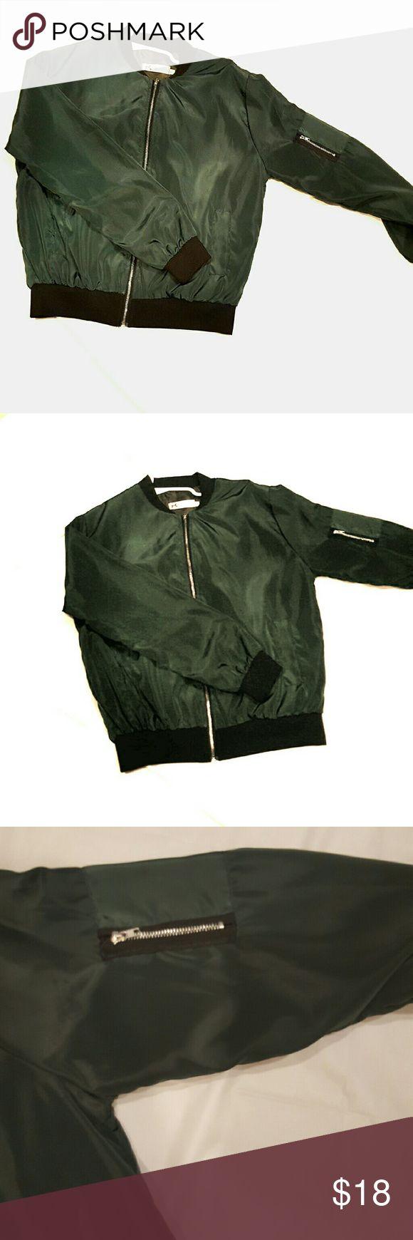 Green Lightweight Bomber Jacket Green, Super Lightweight, Bomber Jacket. Zipper on arm, 2 Pockets in Front. Size Large, but it runs a little small, so I am listing as a medium. Jackets & Coats