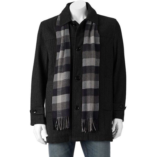 Big & Tall Towne Wool-Blend Top Coat ($150) ❤ liked on Polyvore featuring men's fashion, men's clothing, men's outerwear, men's coats, black, mens big and tall outerwear, mens topcoat, mens top coat, big tall mens wool coats and mens insulated coats