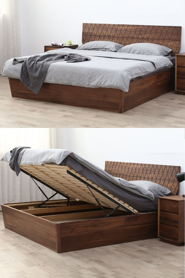 Wooden Oak High Quality Double Bed With Storage Space In 2020