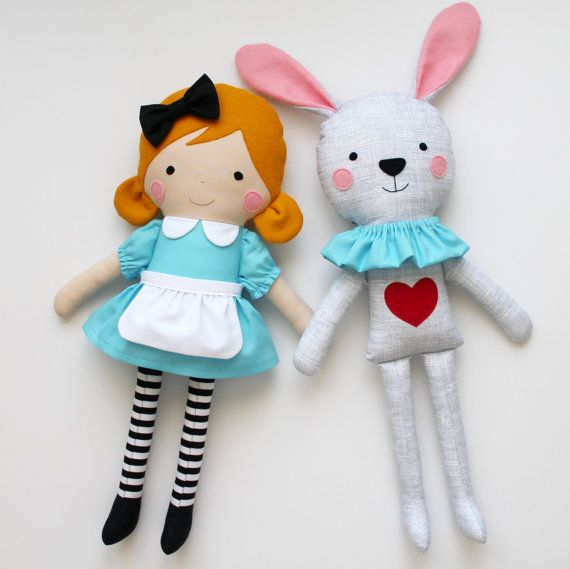 Alice in Wonderland & the White Rabbit - Play set of two handmade rag dolls - Stuffed toys for kids - Fabric dolls to decorate and play