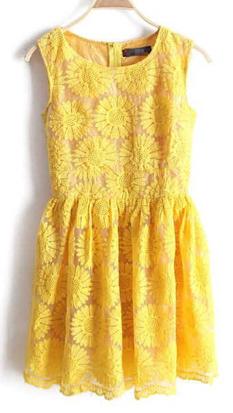 Yellow Sleeveless Sunflower Embroidery Bilayer Dress : Love it