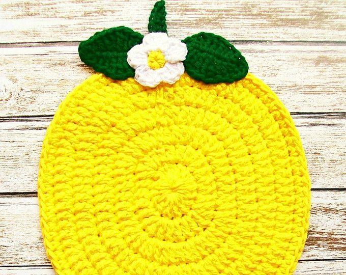 Limón amarillo brillante fruta pote titular cojín caliente algodón Potholder Crochet cocina hecho a mano utensilios de cocina Decor