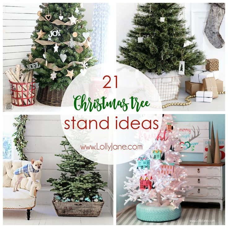 21 Christmas tree stand ideas! Such unique tree stands, love these fun Christmas trees!