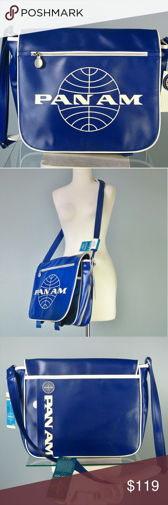 """Reproduction Pan Am Messenger Bag Super cool vinyl messenger with lots of pockets, adjustable padded strap, 14.5"""" wide 12 7/8"""" high, 6 3/8"""" deep. Strap 18"""" - 23 1/2"""" Bags Travel Bags"""