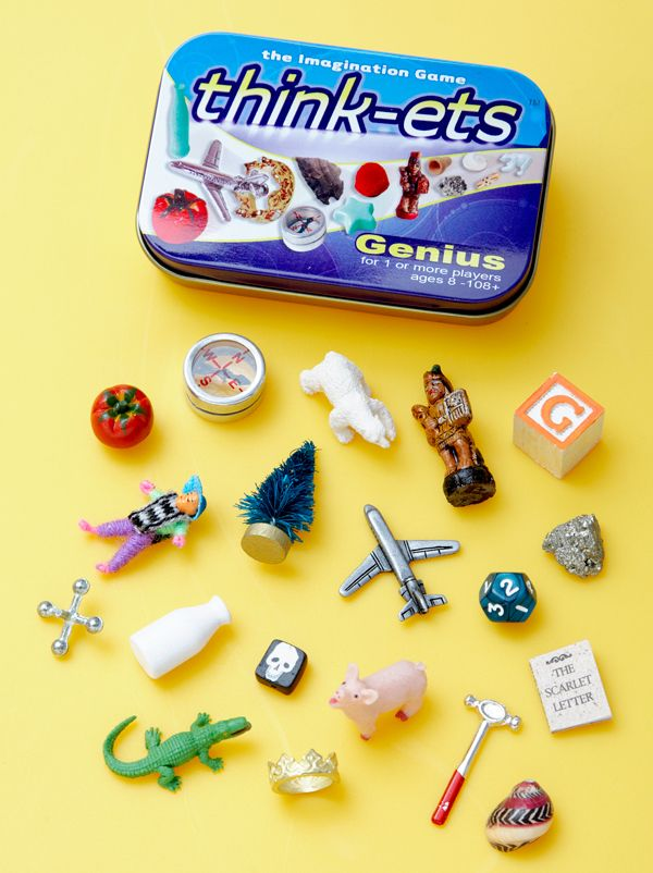 "Think-ets: For Moms to keep in their bag for those times kids have to wait...(Along with the pouch comes rules for a few games, such as ""I'll take one away, and you tell me which one is missing"", or ""Make a story about the item you're holding"")"
