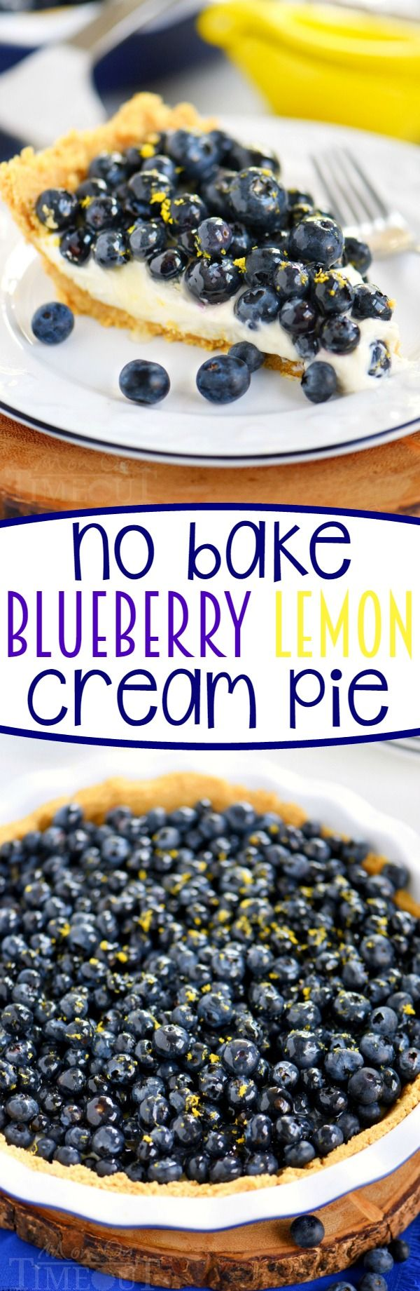Get ready to wow your taste buds with this easy No Bake Blueberry Lemon Cream Pie! It's a party in your mouth! A secret ingredient adds loads of tart, fresh, lemon flavor that's impossible to resist!: