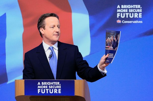 Prime Minister David Cameron speaking at the launch of the Conservative Party manifesto