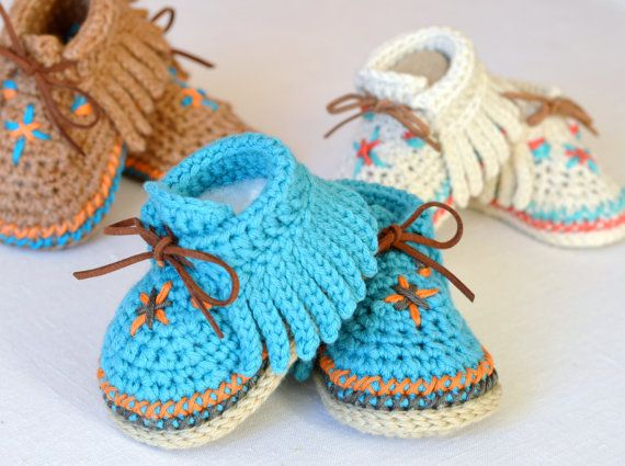 PDF PATTERN Baby Shoes Pattern Native American Baby Moccasins Crochet Pattern 3 Sizes Photo Tutorial Digital File Instant Download