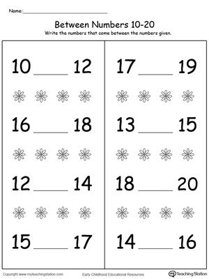 Number in Between 10 Through 20 Worksheet: Practice the ability to identify the number in between by looking at the order of the numbers and writing the missing number.