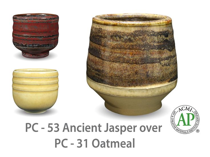 AMACO Potter's Choice layered glazes PC-31 Oatmeal and PC-53 Ancient Jasper.