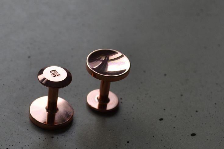 Elliot copper cufflinks. Unique cufflinks. wedding accessories for grooms and groomsmen or ushers.