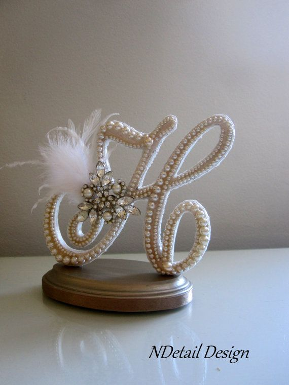 Wedding Cake Topper & Display Monogram Custom Vintage Ivory Pearl and Lace Letter H for Gatsby, Shabby Chic  or Vintage Wedding on Etsy, $110.99