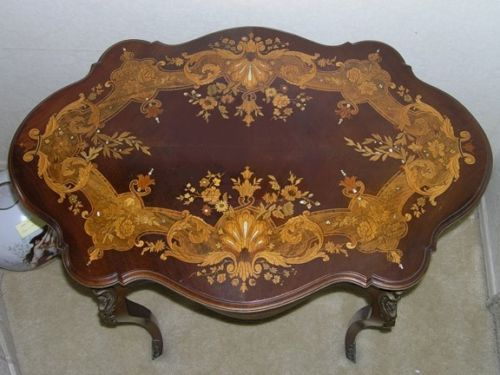 Good MAKE OFFER STUNNING INLAID ITALIAN ANTIQUE WOOD TABLE