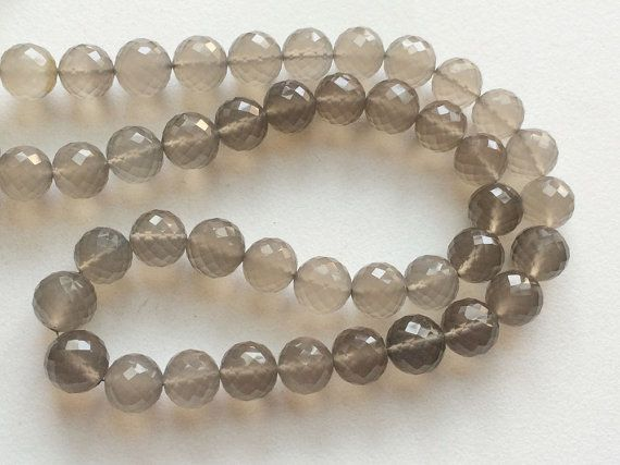 Grey Chalcedony Micro Faceted Round Balls Beads by gemsforjewels