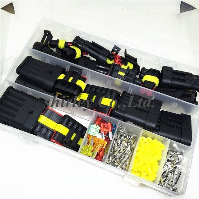 240pcs Superseal Amp Tyco Waterproof 12v Electrical Wire Connector Sets Kits With Crimp Terminal And Car Electrical Wire Connectors Car Fuses Electrical Wiring