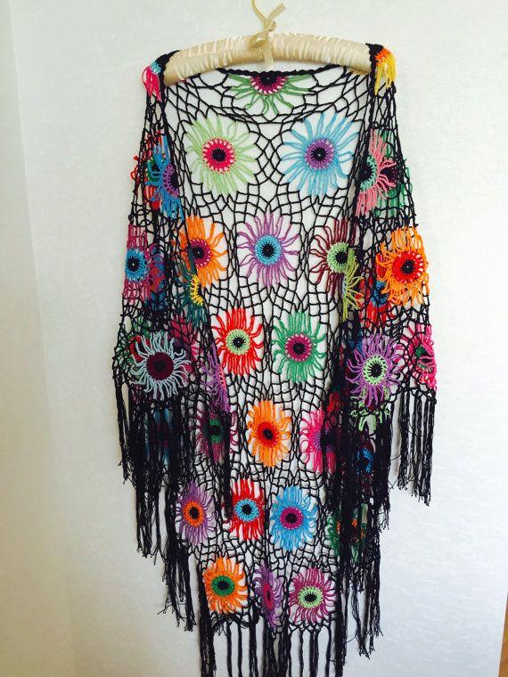 Colourfull Crochet Shawl Boho Gypsy Shawl Hippie by fyboutique