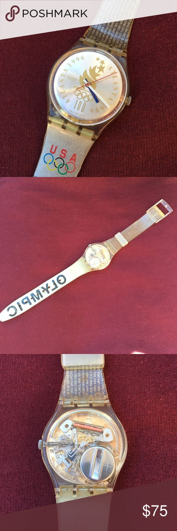 🎉HP🎉 SWATCH WATCH USA Olympic Team Vintage, retro 90's SWATCH WATCH USA Atlanta 1996 Olympic Team. Brand new battery, keeping great time. Minor wear on band as shown in fourth pic. Scratch on face as shown in first pic. Unisex.  🎈🎉 Host Pick, Sporty Chic Style Party 10-11-2017 🎉🎈 Swatch Accessories Watches