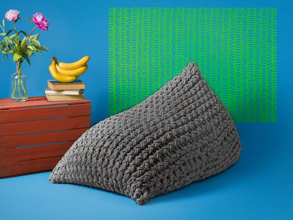 Grey bean bag cover Knitted bean bag cover by Puffchic on Etsy