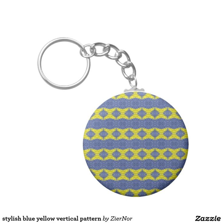 stylish blue yellow vertical pattern basic round button keychain