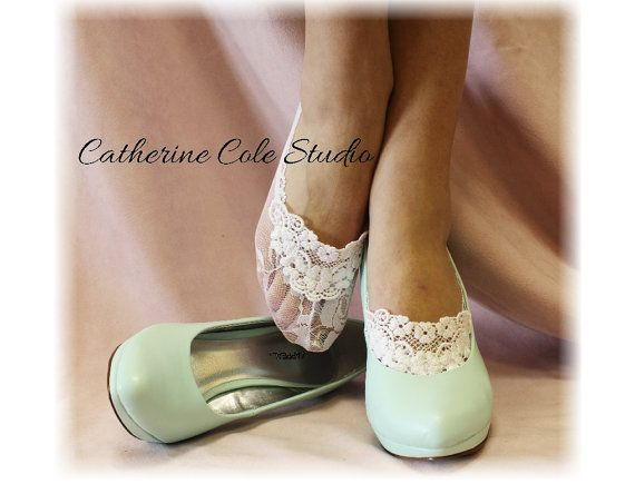 Love the look of this! So elegant and dresses up any shoe! Lace socks heels peep socks wedding shoes bridal footlets bridesmaids womens  lace socks  ENCHANTING LACE White Catherine Cole Studio FTL4