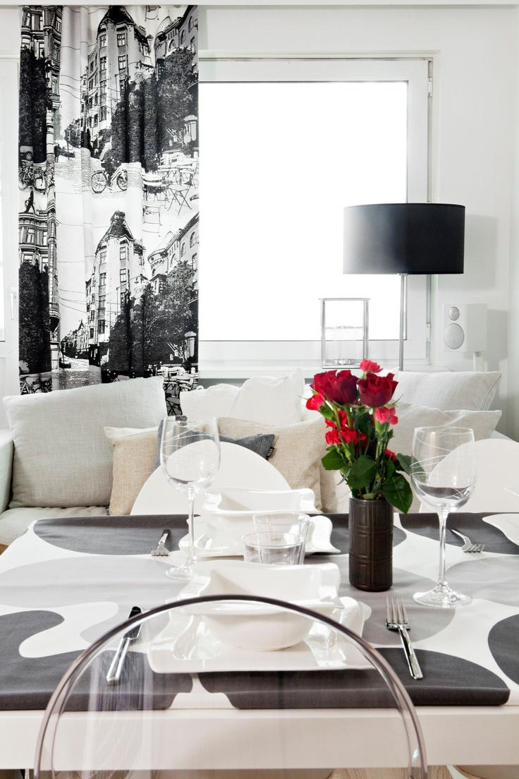 Bulevardi curtain 24 grey by Tanja Orsjoki   Cotton 83%, polyester 17%