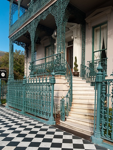 116 Broad Street, John Rutledge House, Charleston, South Carolina: 1763, 1853 ironwork by Christopher Werner