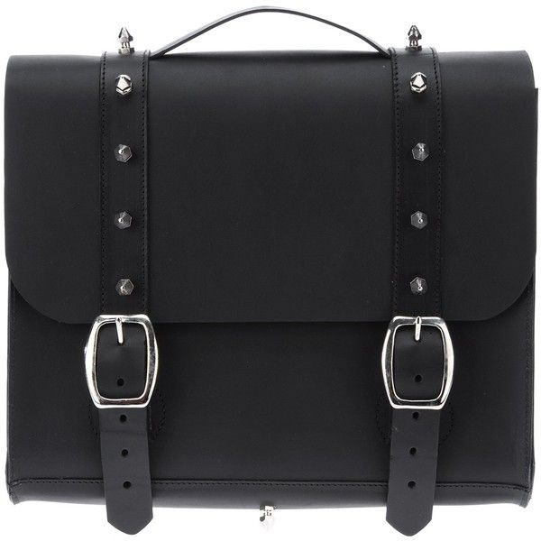 DANIELLE FOSTER 'Pauric' satchel ($390) ❤ liked on Polyvore featuring bags, handbags, accessories, genuine leather satchel handbags, studded purse, leather satchel handbags, studded leather purse and real leather handbags