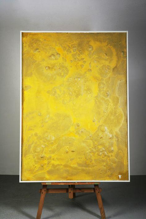 Arena, resina y pigmento sobre tabla. Autor: Frutos María.