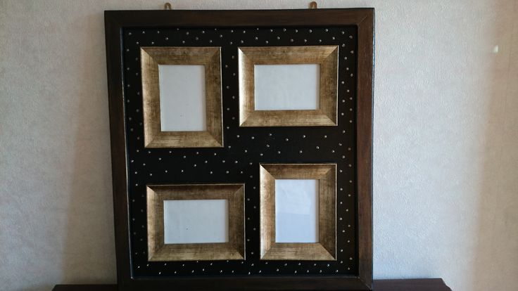 Up-cycled old picture frame where the glass had broken. Bought 4 inexpensive photo frames, painted and embellished it!