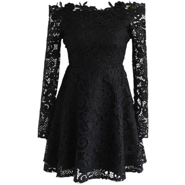 Chicwish Precious Love Floral Crochet Off-Shoulder Dress in Black ($60) ❤ liked on Polyvore featuring dresses, black, floral day dress, flower pattern dress, floral crochet dress, off-shoulder dresses and flower print dresses