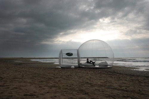 A bubble tent on a beach