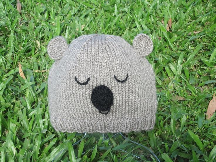 Knitting Pattern For Koala Bear Mittens : Koala bear animal hat beanie. Wool / silk / mohair novelty winter hat for tee...