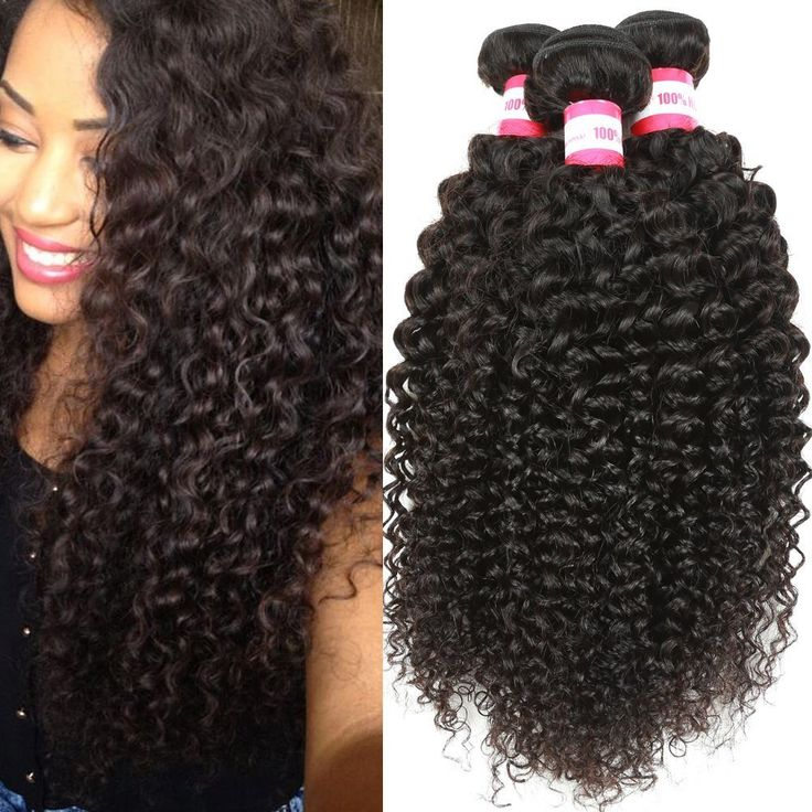 B&P Hair 7A Virgin Brazilian Curly Hair Weave 3 Bundles 100% Unprocessed Remy Human Hair Extensions 10 12 14inches Natural Black Hair