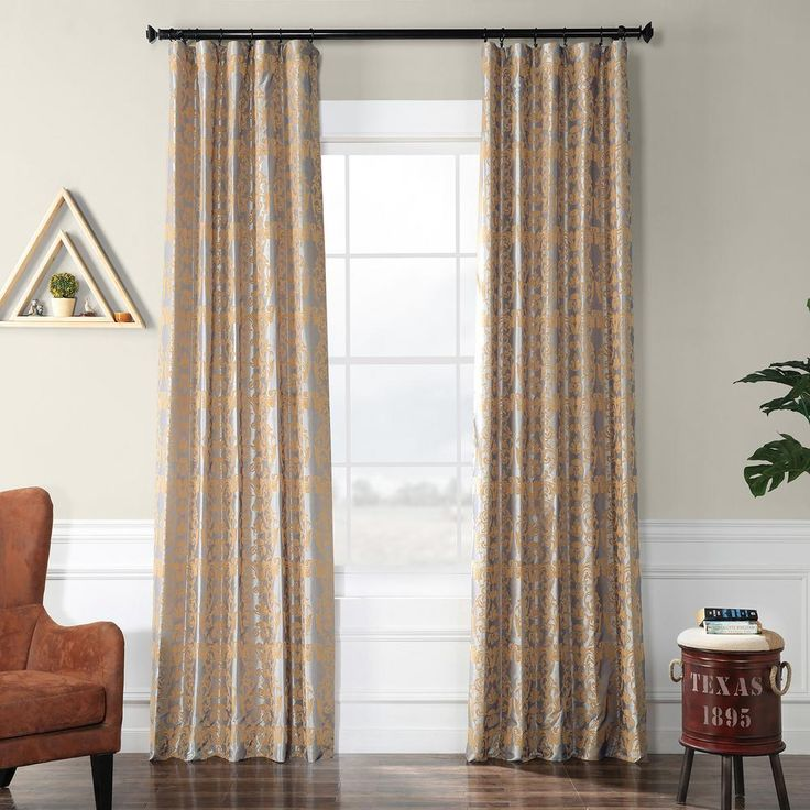 Exclusive Fabrics & Furnishings Firenze Silver and Gold Flocked Faux Silk Curtain – 50 in. W x 120 in. L-PTFFLK-C7E-120