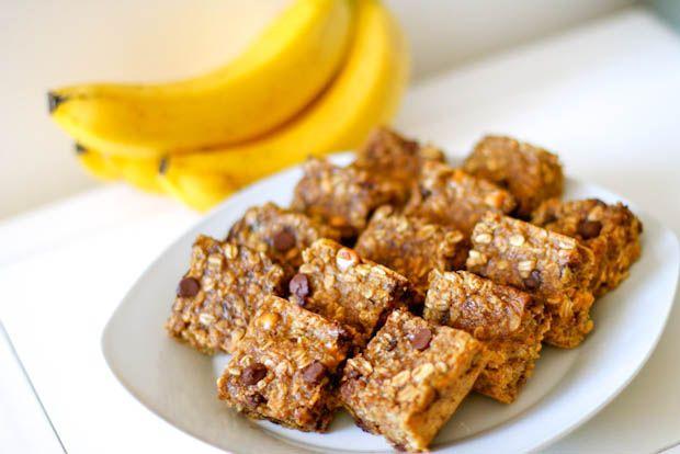 Peanut Butter Banana Oatmeal Bars. - Sallys Baking Addiction - use ground flax seed & H2O instead of egg to make it vegan!!