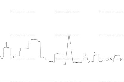 San Francisco Skyline outline, line drawing, shape