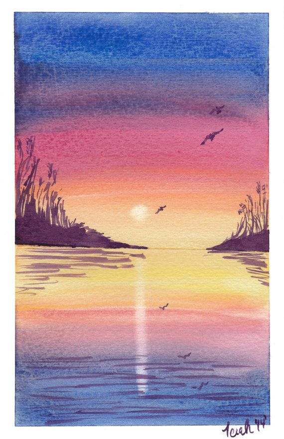 Original Watercolor Painting Inlet Sunset by KingdomCreatives, $20.00