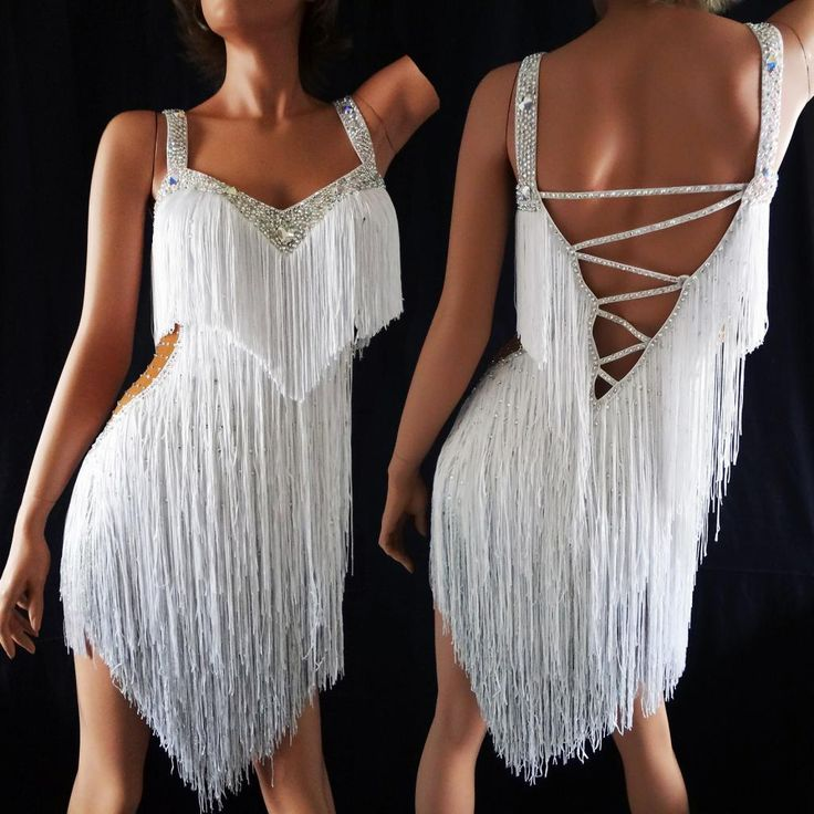 White and Silver fringe ballroom dress $599.99