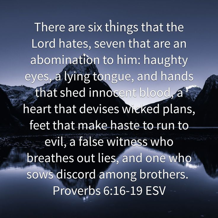 There are six things that the Lord hates, seven that are an abomination to him: haughty eyes, a lying tongue, and hands that shed innocent blood, a heart that devises wicked plans, feet that make haste to run to evil, a false witness who breathes out lies, and one who sows discord among brothers. Proverbs 6:16‭-‬19 ESV http://bible.com/59/pro.6.16-19.ESV