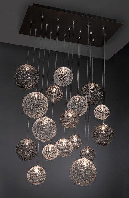 Moderne lysekroner til højt til loftet foto - 3