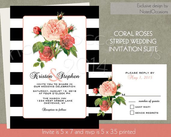 Striped Wedding Invitation Suite Coral Roses on Black and White Stripes - Stripes Wedding Invitations Modern DIY Wedding Digital Printable by NotedOccasions