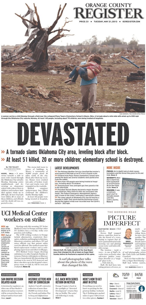 Newspaper Front Pages: Moore Tornado Coverage