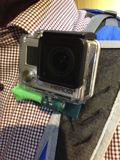 GoPro backpack strap clamp by HamOp  http://thingiverse.com/thing:274206