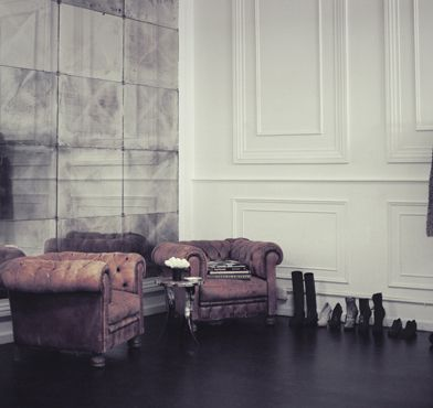 love the all white wall of molding - living room idea